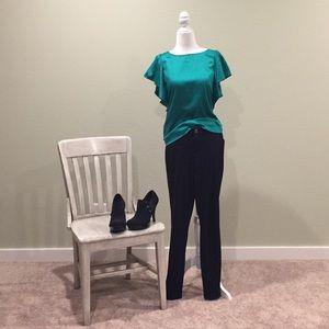 Emerald green flutter sleeve blouse